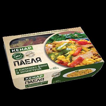 Паеля с пилешко филе и зеленчуци